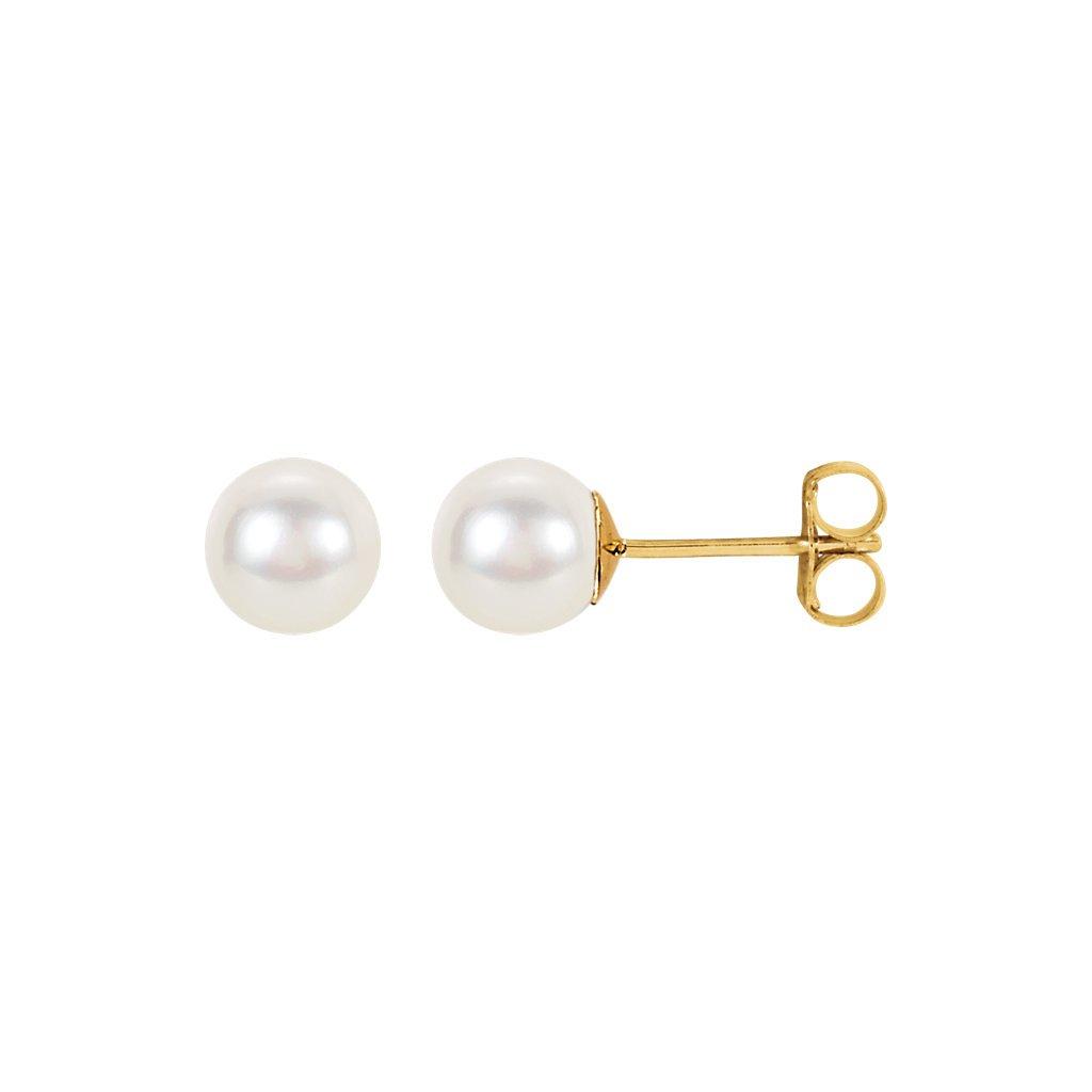 zlaté napichovacie náušnice s perlou