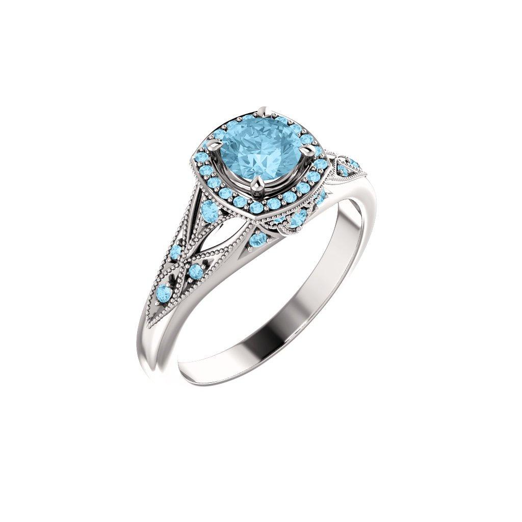 123832 B B prsteň s akvamarínom