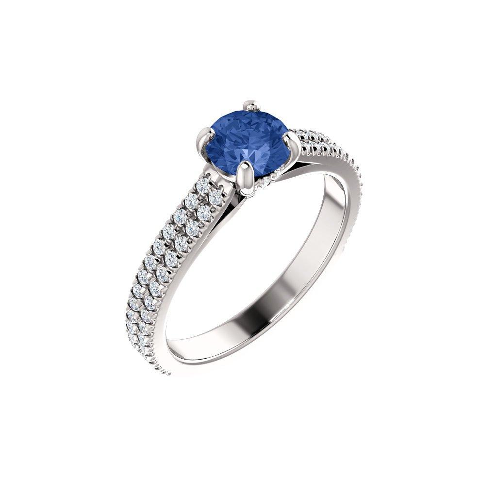 123972B B MX Briliantový prsteň z bieleho zlata so safírom
