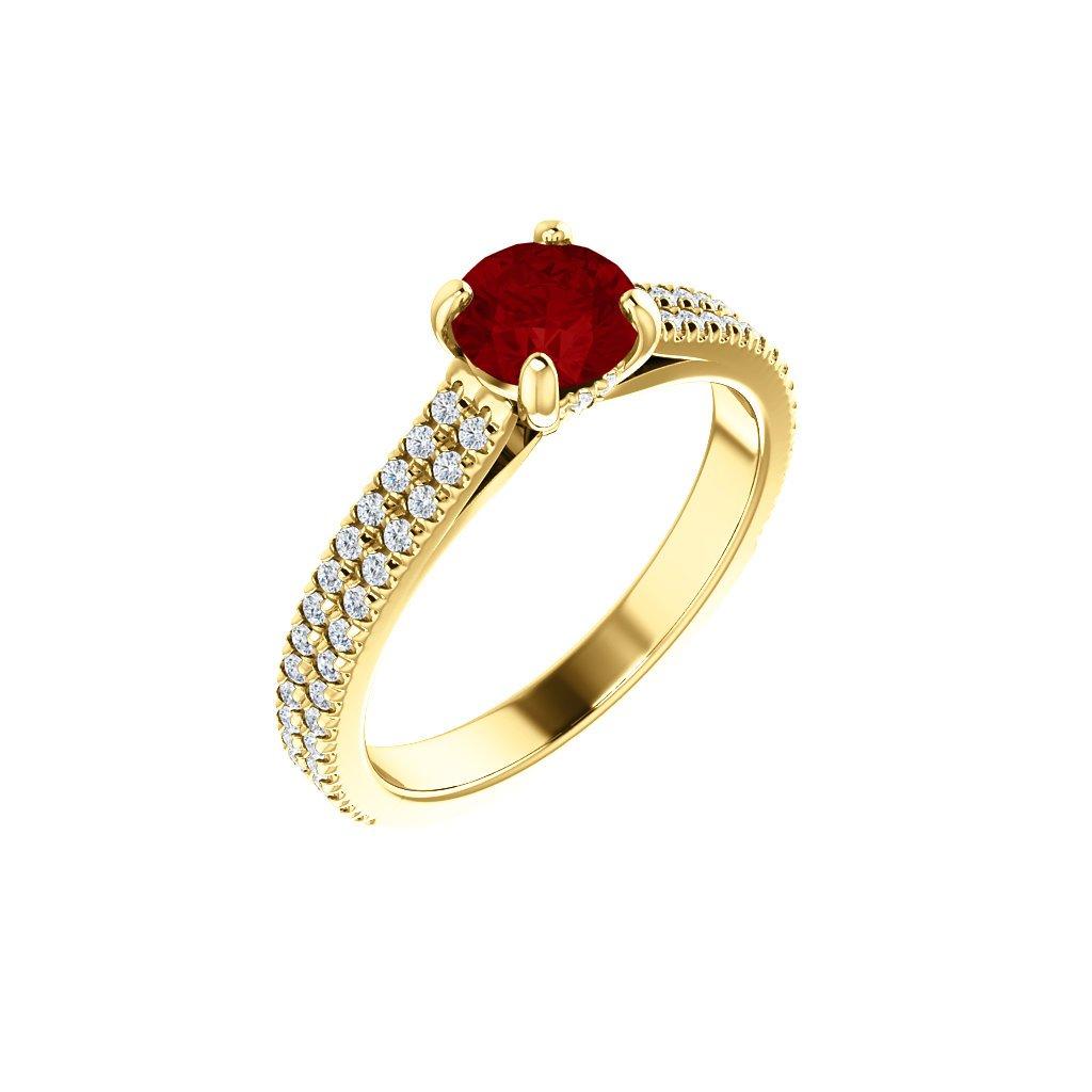 123972B Z CX Briliantový prsteň zo žltého zlata s rubínom