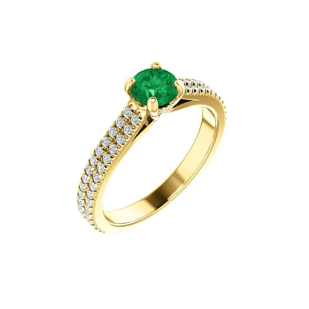 Briantový prsteň zo žltého zlata so smaragdom 123972B Z Z