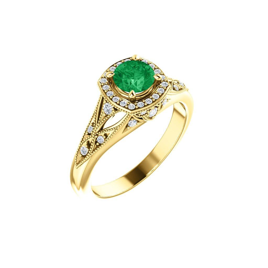 zlaty prsten 123832 so zeleným očkom