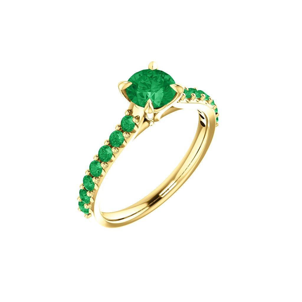 zlatý prsteň so zelenými kamienkami 123651 Z Z 1