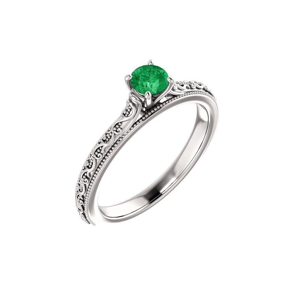 22151 b z prsteň z bieleho zlata so zeleným očkom