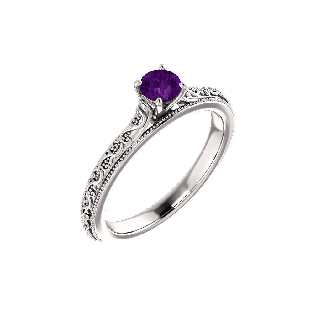 22151 b f prsteň z bieleho zlata s fialovým očkom