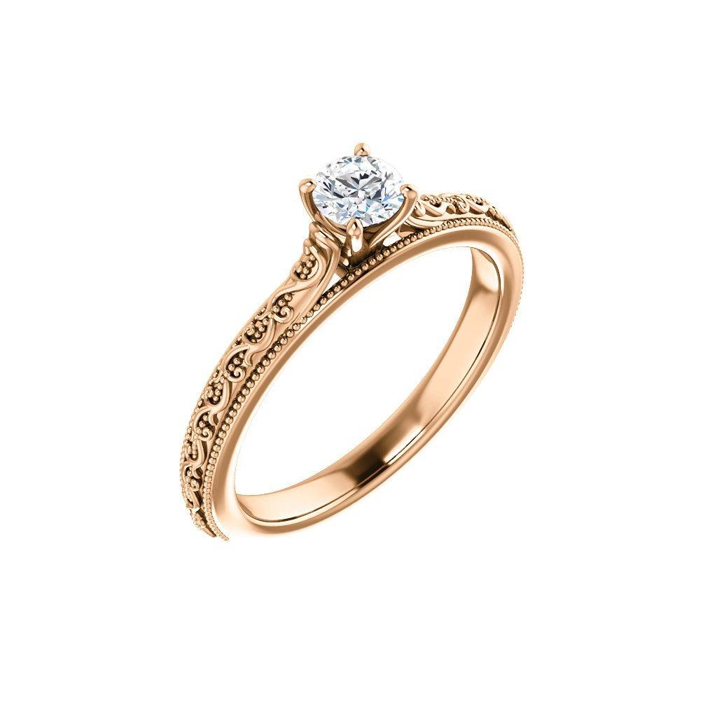 22151 r x prsteň z ružového zlata s bielym očkom
