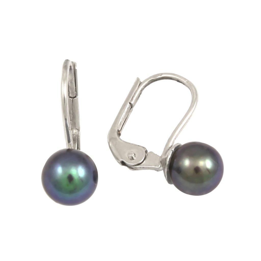náušnice z bieleho zlata s čiernymi perlami 2371