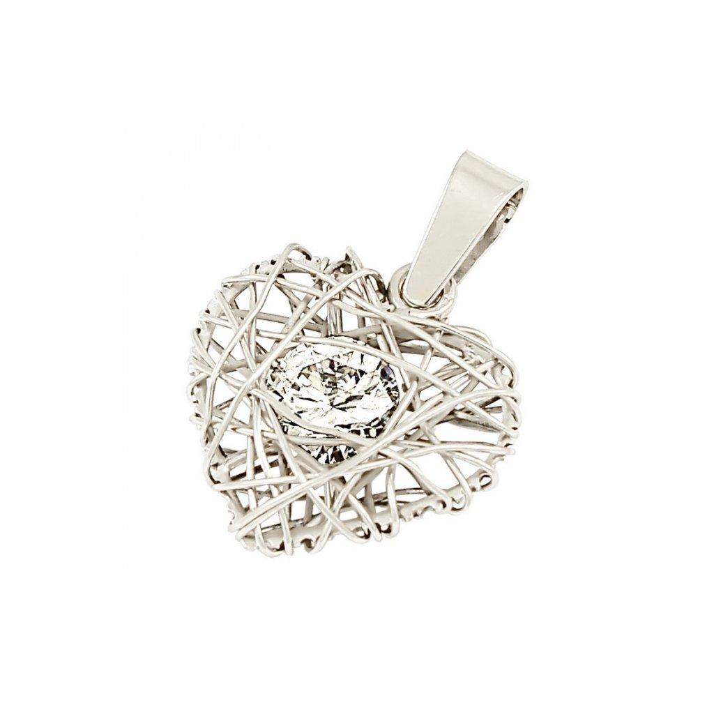 Privesok z bieleho zlata v tvare srdca so zirkónom 2468B