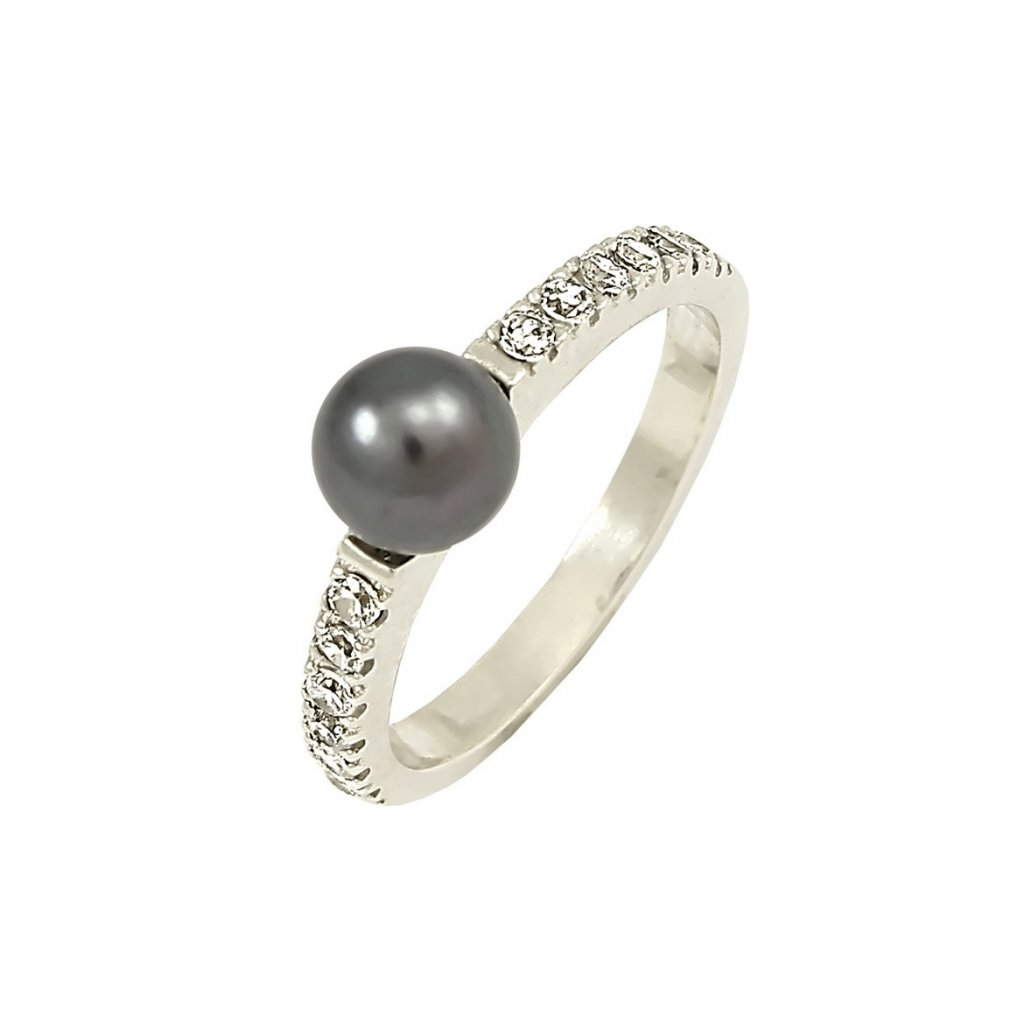 Prsteň z bieleho zlata s perlou a zirkónami 22108 B PyX