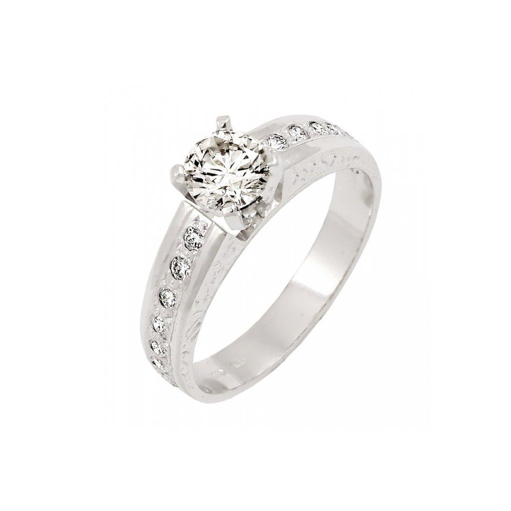 Zásnubný prsteň osadený s briliantami z bieleho zlata