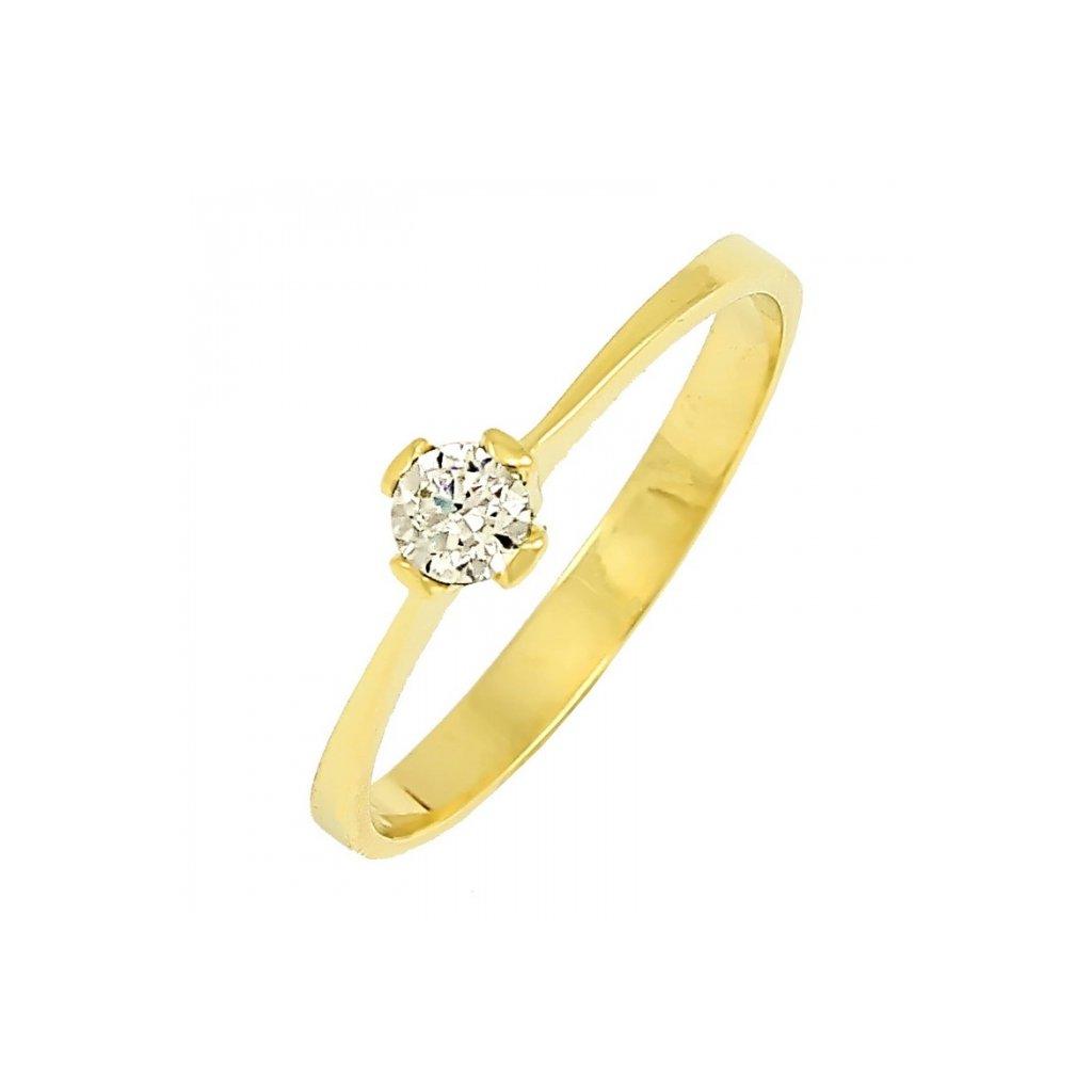 zlatý prsteň s briliantom 22105b