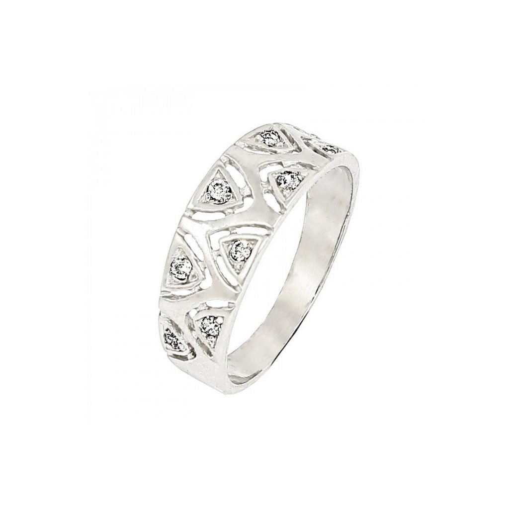 pekný prsteň zdobený diamantmi 22116