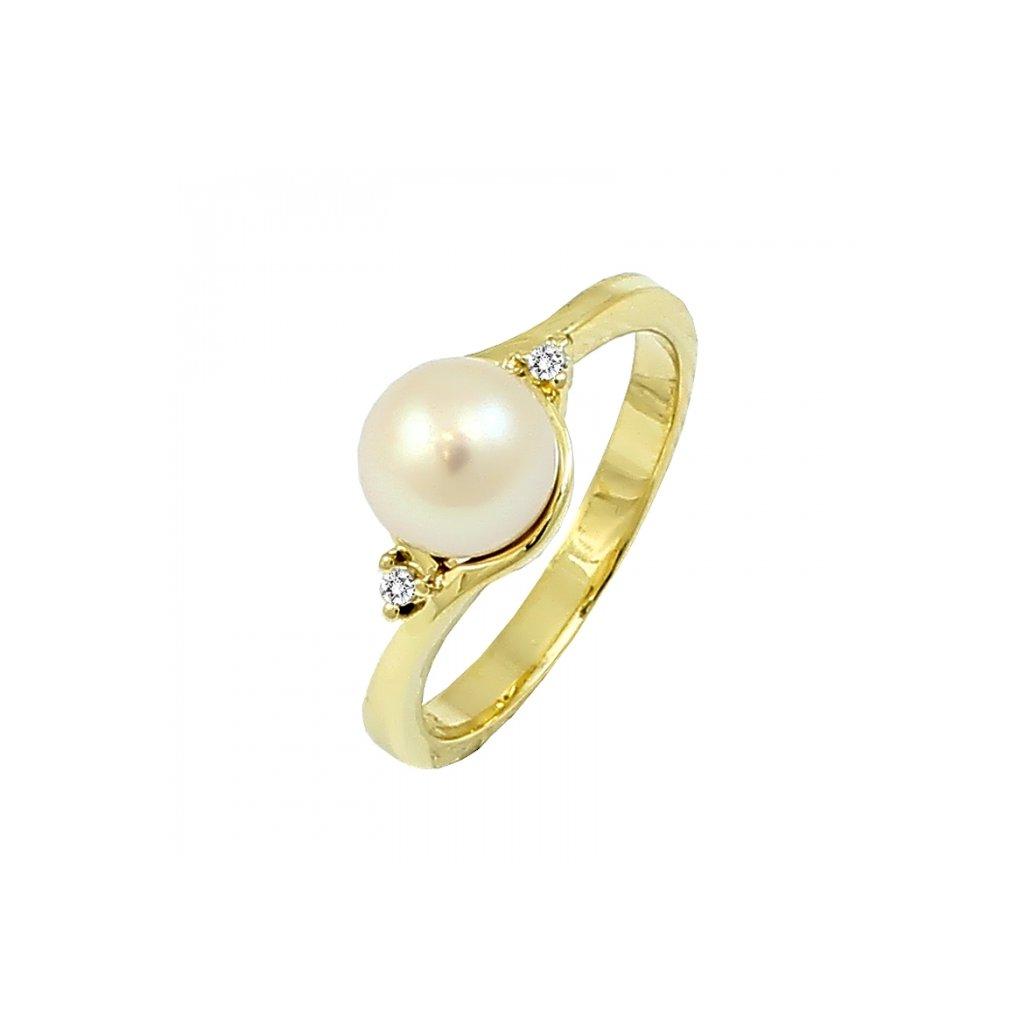Zlatý prsteň s perlou a zirkónami 22121ZPX