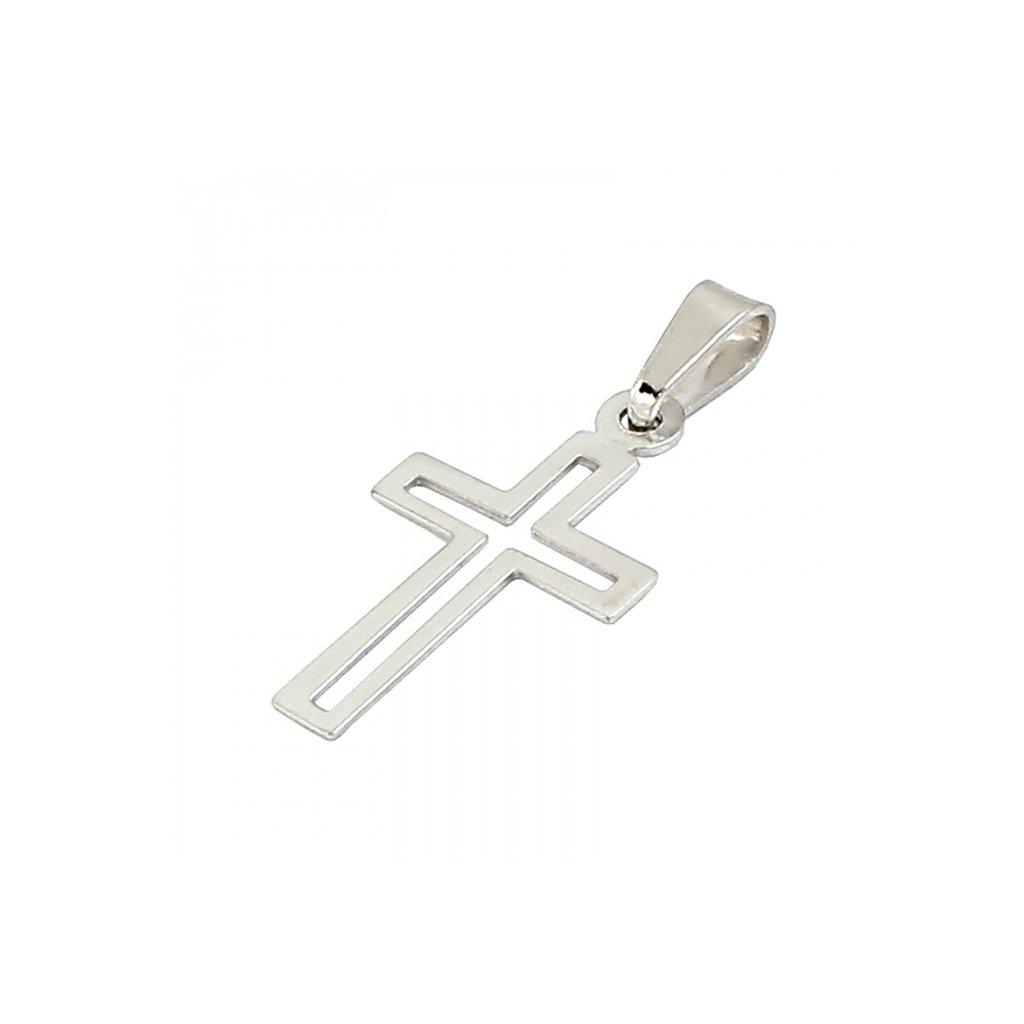 Privesok križik z bieleho zlata 2470uB