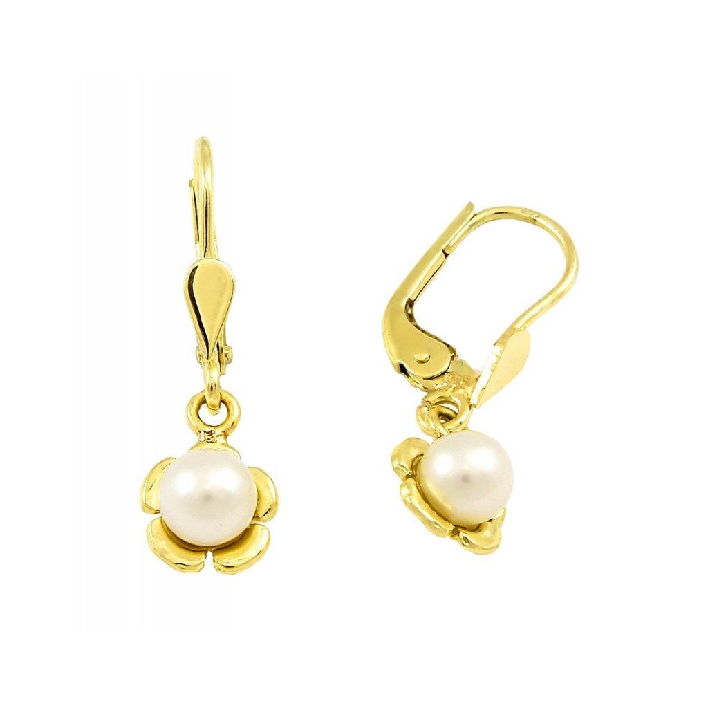 zlaté visiace náušnice s perlami 2311