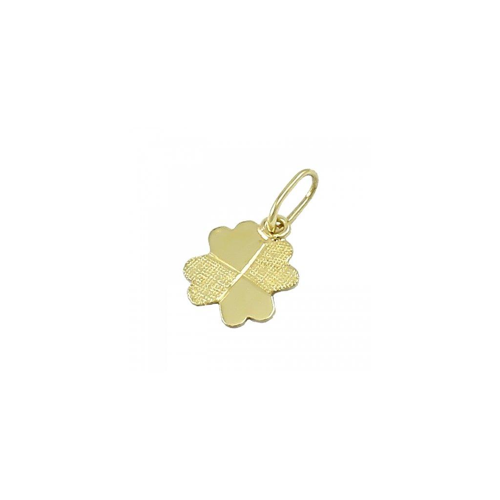 Privesok štvorlistok zo žlteho zlata 2416 Z