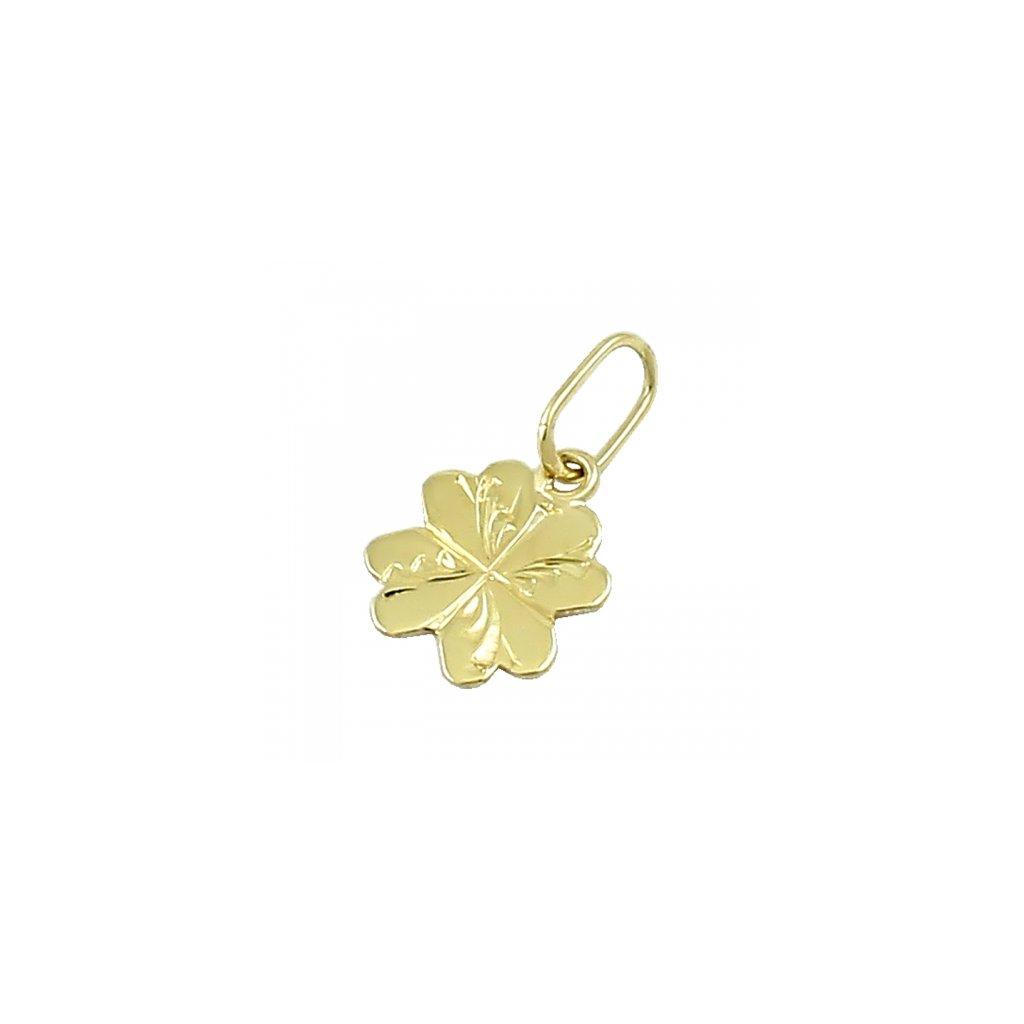 Privesok štvorlistok zo žltého zlata 2416-4Z