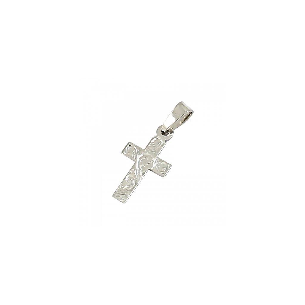 Privesok križik z bieleho zlata 2472-1B