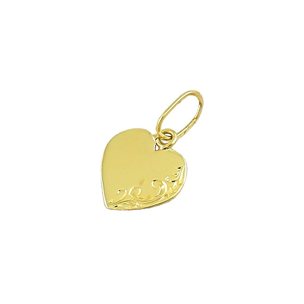 Zlatý prívesok srdce gravírovane 2412-6Z