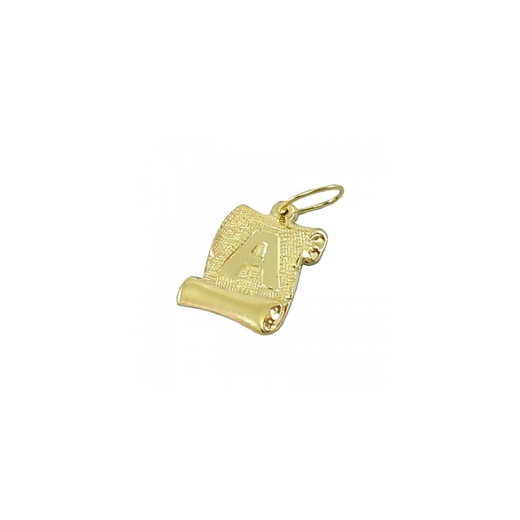 Zlatý privesok platnička s pismenom A  2415 Z