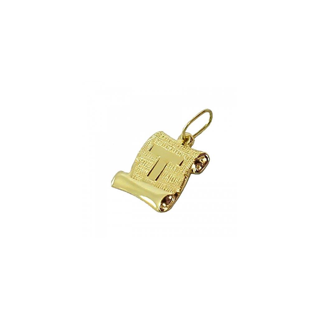 Zlatý privesok platnička s pismenom T2415Z
