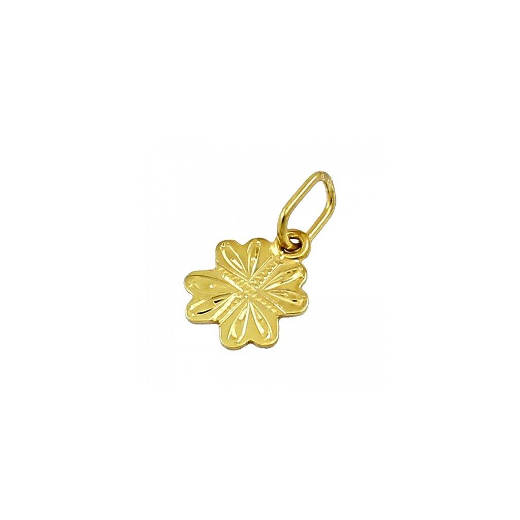 Privesok zo žltého zlata štvorlistok 2416-5Z