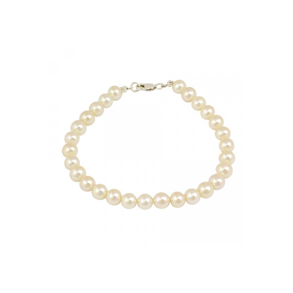 Perlový náramok doplnený bielym zlatom 2580BP