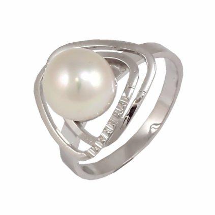 Prsteň z bieleho zlata s perlou 22139 BPX