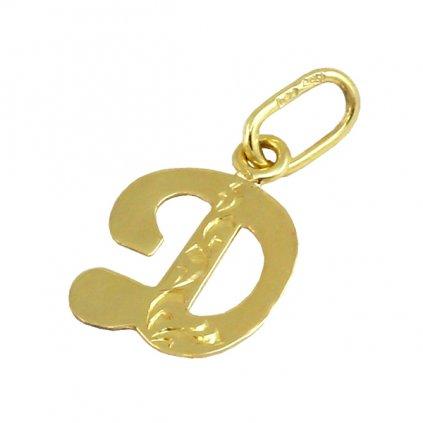 Zlatý prívesok písmenko D
