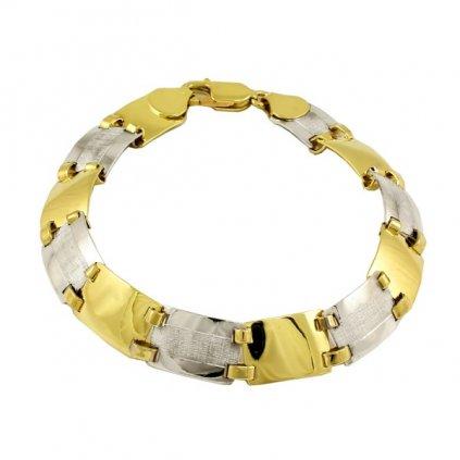 masívny náramok zo žltého a bieleho zlata 2540ZB