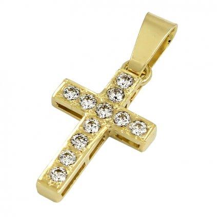 Privesok zo žlteho zlata križik osadený zirkónmi 2460ZX