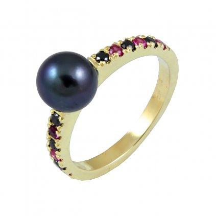 Prsteň zo žltého zlata s perlou 22108 Z Py RY 1