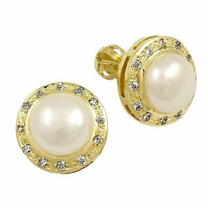 Zlaté šrobovacie náušnice s perlami a zirkónmi 23137ZPX