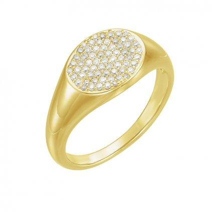 krásny zlatý prsteň so zirkónmi 123112z