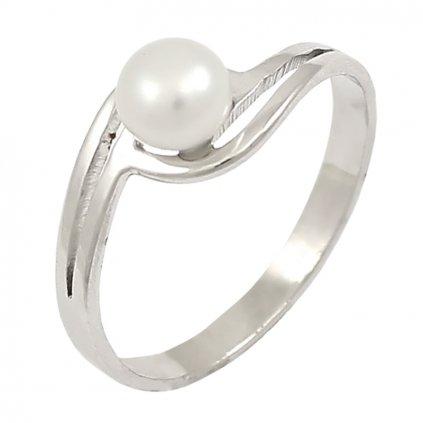 Jednoduchý prsteň z bieleho zlata s perlou 2242BP