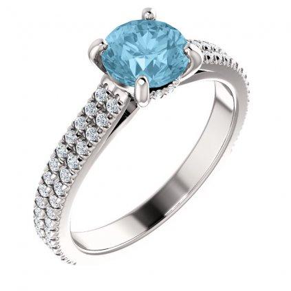 Briliatový prsteň z bieleho zlata s topasom 123972 B BX