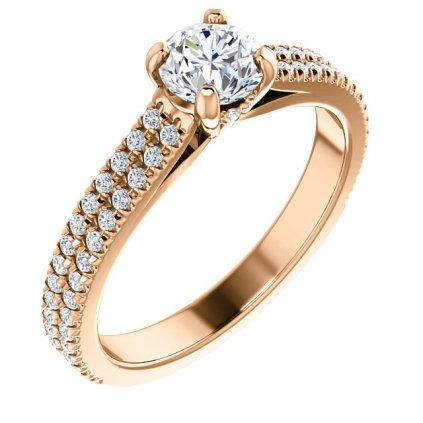 Briliantový prsteň, ružové zlato 123972B