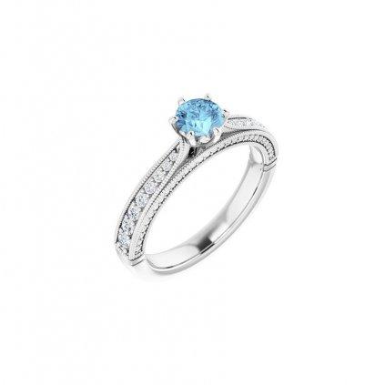 22159 prsteň z bieleho zlata s belasým očkom