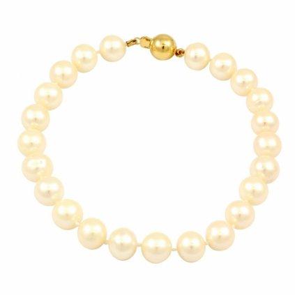 Krásny perlový náramok so zlatým guličkovým uzáverom 2583ZPG