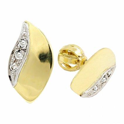 žltobiele zlaté náušnice 2382