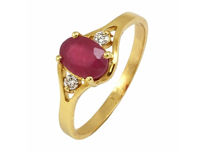 Zlatý rubínovo-briliantový prsteň ST-7352c/Z/CX