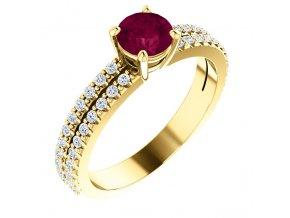 Rubínový prsteň zo žltého zlata 71588