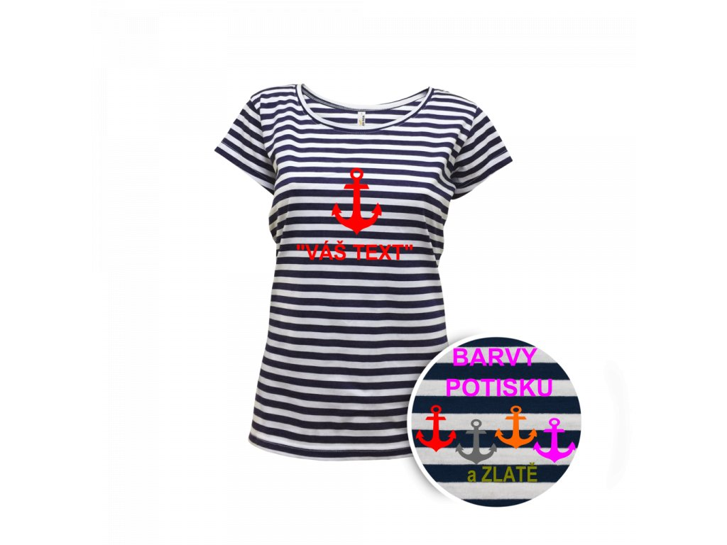 Tričko námořnické dámské krátký rukáv - potisk
