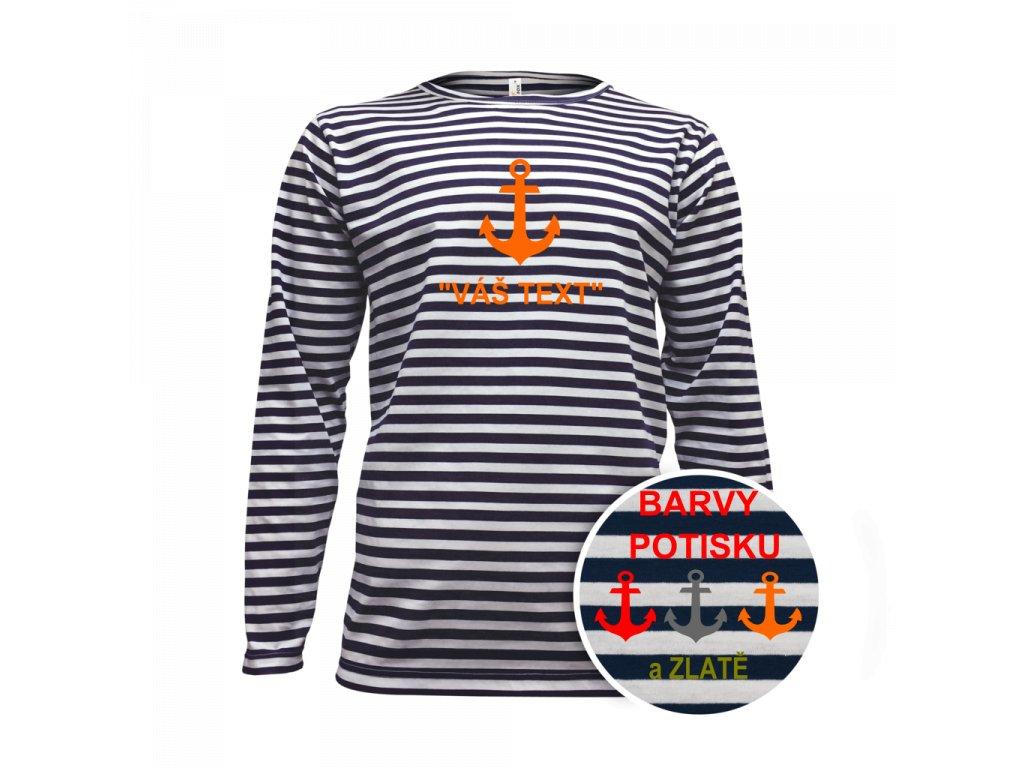 Tričko pánské námořnické dlouhý rukáv - potisk