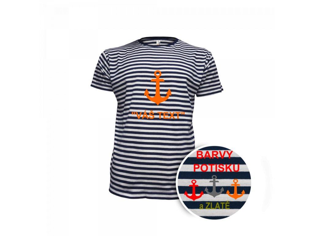 Tričko pánské námořnické krátky rukáv - potisk