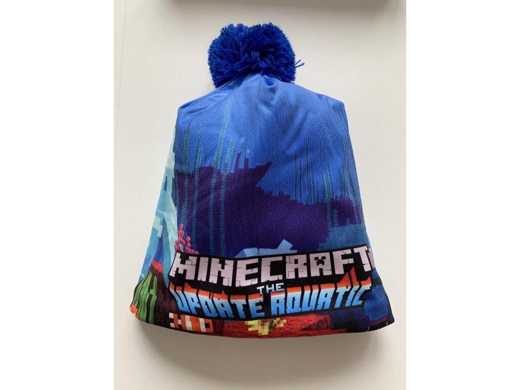 Minecraft zimní čepice modrá