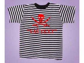 Tričko černé pruhy pirát s textem