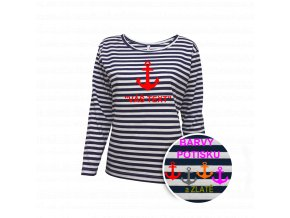 Tričko námořnické dámské dlhý rukáv - potisk