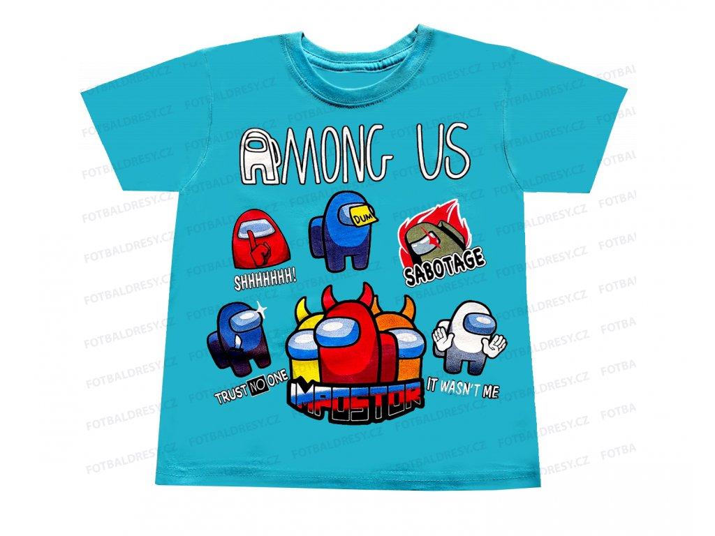 Tričko Among Us bavlna postavičky modrá