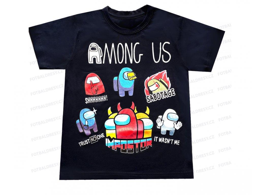 Tričko Among Us bavlna postavičky černá
